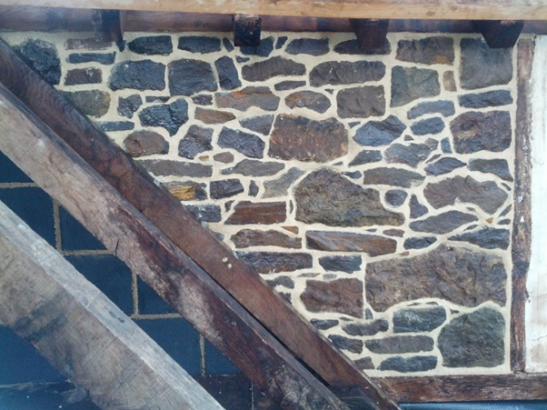 reclaimed stone and limework building